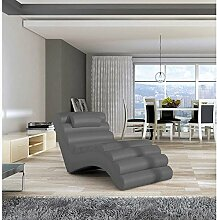 JUSThome MIAMI Liege Relaxliege Loungesessel Kunstleder (BxLxH): 75x168x80 Grau