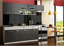 JUSThome Moreno Küchenzeile Küchenblock Küche Farbe: Schwarz Aluminium