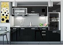 JUSThome Paula I LED Küchenzeile Küchenblock Küche 240 cm Farbe: Schwarz Hochglanz