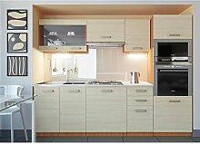 JUSThome Paula LED Küchenzeile Küchenblock Küche 240 cm Farbe: Eiche I+LED