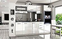 JUSThome Paula Pro Küchenzeile Küchenblock Küche 240 cm Farbe: Weiß Hochglanz