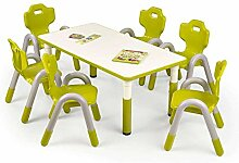 JUSThome SIMBA Kindertisch Schreibtisch Esszimmertisch (LxBxH): 115x60x46-58 cm Grün