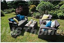 JUSThome Sitzgruppe Gartenmöbel Gartengarnitur CORFU 1x Sofa + 2x Sessel + 1x Tisch Braun