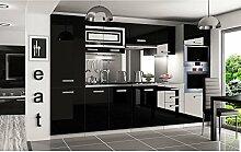 JUSThome Syntka Pro LED Küchenzeile Küchenblock Küche 300 cm Farbe: Schwarz Hochglanz