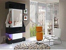 JUSThome Top LED Garderobenset Garderobe Garderobenschrank (HxBxT): 210x100x40 cm Weiß Schwarz Matt | Schwarz Hochglanz