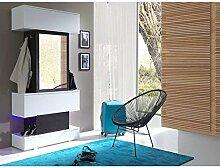 JUSThome Top LED Garderobenset Garderobe Garderobenschrank (HxBxT): 210x100x40 cm Wenge | Weiß Matt | Weiß Hochglanz
