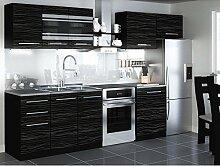 JUSThome Torino I LED Küchenzeile Küchenblock Küche 300 cm Länge Griffvariante II