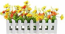justnile dekorativer Holz Lattenzaun Window Box/Flower Box mit künstlichen Daisies–Gelb & Orange, 29,7x 18,8x 7,4cm