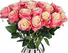JUSTOYOU 10 Pack Seide Künstliche Rose Blumen