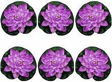 justoyou Künstliche Pflanzen Floating Foam Lotus Teich Pflanzen für Garten-Teich im, Textil, violett, S