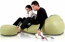 JUSTyou Active Sitzsack Sessel Riesensitzsack Kunstleder Farbe: Grün I