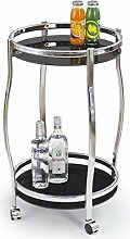 JUSTyou Bar-8 Bartisch Küchenbar Barwagen aus Glas / Stahl Schwarz (DxH): 42x71 cm