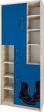 JUSTyou Bregi BR IIIC Highboard Hochschrank Standschrank Blau mit Motiv (HxBxT): 203x80x40 cm