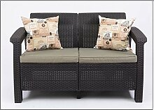 JUSTyou Corfu Sofa Couch Gartenbank Rattan 2-Sitzer Sofa Braun Taupe