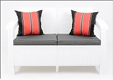 JUSTyou Corfu Sofa Couch Gartenbank Rattan 2-Sitzer Sofa Weiß Aschgrau