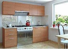 JUSTyou Economy Klein Küchenzeile Küchenblock Küche 180 cm Länge Farbe: Erle