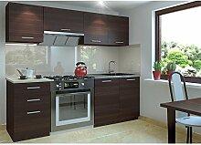 JUSTyou Economy Klein Küchenzeile Küchenblock Küche 180 cm Länge Farbe: Kastanie