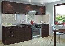 JUSTyou Economy Küchenzeile Küchenblock Küche 240 cm Länge Farbe: Kastanie