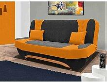 JUSTyou Eva II Einzelsofa Sofa Schlafsofa Mikrofaser (HxBxT): 100x200x95 cm Grau Orange
