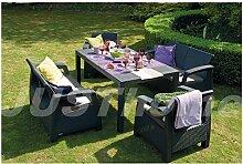 JUSTyou Fiesta Essgruppe Gartenmöbel Gartengarnitur Set 2x Sessel + 2x Sofa + Tisch in Rattan-Optik Anthrazit Grau