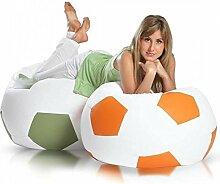 JUSTyou Fußball XXXL Sitzsack Sessel Riesensitzsack Kunstleder Farbe: Orange
