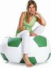 JUSTyou Fußball XXXL Sitzsack Sessel Riesensitzsack Kunstleder Farbe: Grün