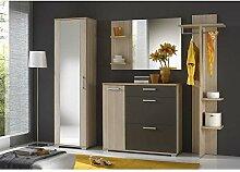 JUSTyou IDO Garderobe Garderobenset Garderobenschrank (HxBxT): 195x225x35 cm Esche Coimbra / Graphit Ma