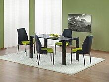 JUSTyou Kevin Esszimmertisch Küchentisch Esstisch aus Glas Schwarz (LxBxH): 140x80x76 cm