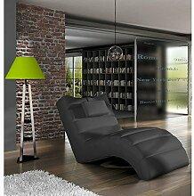 JUSTyou LOS ANGELES Liege Relaxliege Loungesessel Kunstleder (BxLxH): 75x172x92 Schwarz