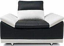 JUSTyou Manilla Sessel Relaxsessel Loungesessel Kunstleder (HxBxT): 80x125x100 cm Weiß Schwarz