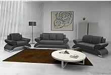 JUSTyou ORION Wohnzimmerset Polstergarnitur Sofagarnitur (3+2+1) Kunstleder Grau