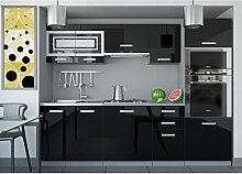 JUSTyou Paula I Küchenzeile Küchenblock Küche 240 cm Farbe: Schwarz Hochglanz