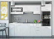 JUSTyou Paula I Küchenzeile Küchenblock Küche 240 cm Farbe: Weiß Hochglanz