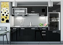 JUSTyou Paula I LED Küchenzeile Küchenblock Küche 240 cm Farbe: Schwarz Hochglanz