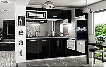 JUSTyou Paula Pro LED Küchenzeile Küchenblock Küche 240 cm Farbe: Schwarz Hochglanz
