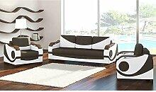 JUSTyou Puerto Wohnzimmerset Polstergarnitur Polstermöbel Kunstleder Strukturstoff (3+1+1) Weiß Braun