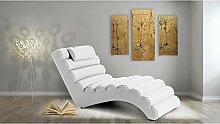 JUSTyou RELIKS Liege Relaxliege Loungesessel Kunstleder (BxLxH): 75x168x80 Weiß