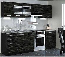 JUSTyou Torino LED Küchenzeile Küchenblock Küche 240 cm Länge Griffvariante I