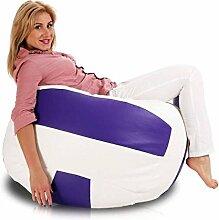 JUSTyou Volleyball Sitzsack Sessel Bodenkissen Kunstleder Farbe: Weiß Viole