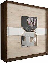 JUSTyou Wiki VIII 180 Kleiderschrank Garderobenschrank Schwebetürenschrank (HxBxT): 200x180x62 cm Eiche I