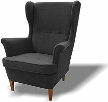 JUSTyou Wood Sessel Relaxsessel Loungesessel Strukturstoff (LxHxB): 82x100x92 cm Grau