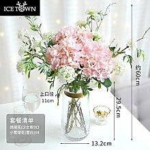 JUSTyou24 Hortensie Künstliche Blume Künstliche Blume Künstliche Blume Dekorative Blume Heimtextilien Wohnzimmer Couchtisch TV Schrank Große Dekoration, Rosa natürlich