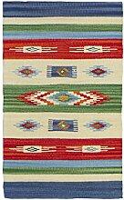 Jute & Co Kilim Teppich, Läufer aus Baumwolle,