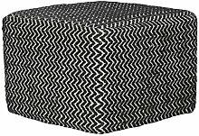 Jute & co pou04/17712Sitzsack handgewebt, Wolle, Weiß/Schwarz, 40x 40x 30cm