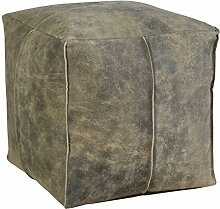 Jute & co poufpeqbru Sitzsack Cube, Leder, brüniert, 38x 38x 38cm