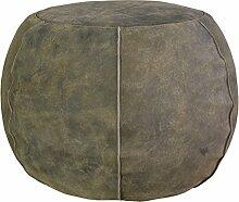 Jute & co poufperbru Sitzsack rund, Leder, brüniert, 50x 50x 35cm