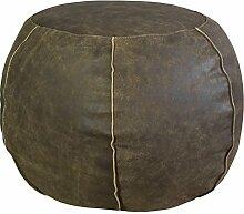 Jute & co poufpermar Sitzsack rund, Leder, Braun, 50x 50x 35cm