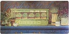 Jute & co Teppich aus Gummi mit Digitaldruck Garden Herbs, 50x 106cm, mehrfarbig
