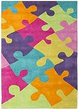 Jute & co Teppich für Kinderzimmer Kinder und Jugendliche, Baumwolle taftato, mehrfarbig, 100x 140cm