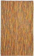 Jute & co Zanzibar Teppich, Läufer aus Baumwolle Hochwertiger Stoff Hand, orange